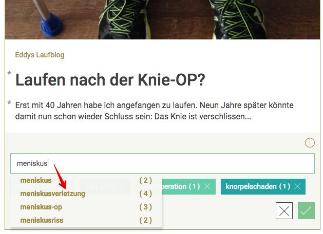 Screenshot: TAG-Liste