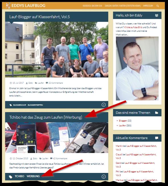 Werbekennzeichnung auf der Blog-Startseite